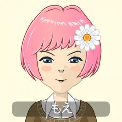 プロフィール画像  ピンクの髪、青い目のアニメ風イラスト