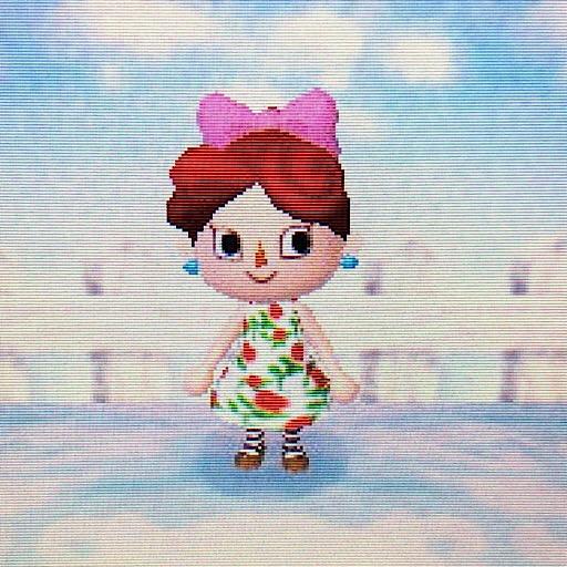 プロフィール画像  ゲームの中の管理人の写真。赤い髪にピンクのリボンをつけ、白地にバラの模様が描かれたワンピースを着た女の子。大きな目はややつり上がっていて、勝気そうな顔をしている。